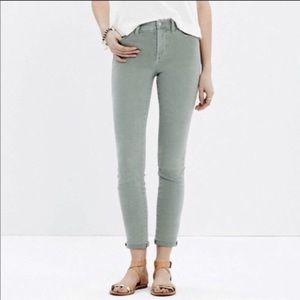 Madewell High Riser Skinny Crop Jeans Sage Green